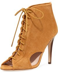 SJP by Sarah Jessica Parker - Marci Suede Lace-up Open-toe Bootie - Lyst