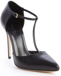 Gucci Black Leather Strappy Pumps - Lyst