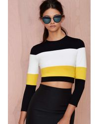 Nasty Gal Touchdown Crop Sweater - Lyst