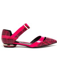 Nicholas Kirkwood Python Skimmers With Bow Detail - Lyst
