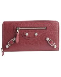 Balenciaga Wine Leather Giant Money Zip and Buckle Detail Continental Wallet - Lyst