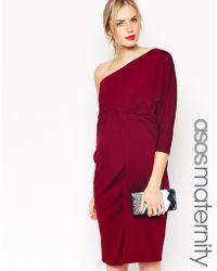 Asos Maternity One Shoulder Dress In Crepe - Lyst