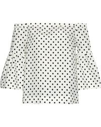 Piamita Camille Polka-Dot Silk And Linen-Blend Top - Lyst