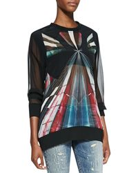 Iro Long-sleeve Sheer Graphic-print Top - Lyst