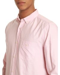 Knowledge Cotton Apparel Button-Down Pink Shirt - Lyst