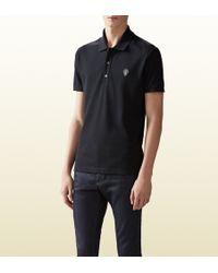 Gucci Stretch Cotton Pique Polo Shirt - Lyst