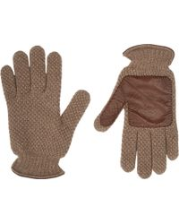 Barneys New York Leather-Trim Knit Gloves brown - Lyst