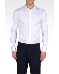 Emporio Armani Slim Fit Poplin Stretch Cotton Shirt - Lyst