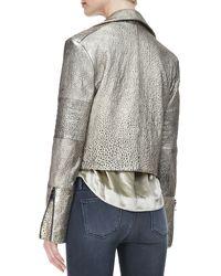 J Brand Aiah Metallic Leather Moto Jacket - Lyst