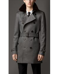 Burberry Mid-Length Fur Collar Cashmere Trench Coat - Lyst