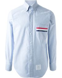 Thom Browne Pocket Stripes Detail Shirt - Lyst