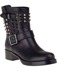 Valentino Rockstud Biker Boot Black Leather - Lyst