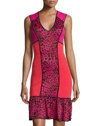 Marchesa Voyage Leopard-Print Colorblock Dress - Lyst