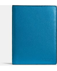 Coach | blue Passport Case In Refined Pebble Leather | Lyst