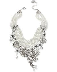 Betsey Johnson Silver-Tone Crystal And Faux-Pearl Statement Frontal Necklace - Lyst