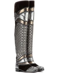 Dolce & Gabbana Studded Leather And Velvet Boots - Lyst