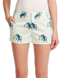 Alice + Olivia Cady Stretch-Cotton Shorts green - Lyst