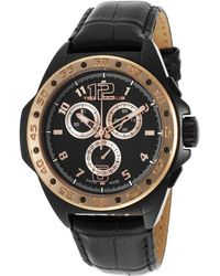Ted Lapidus - Men's Chrono Black Genuine Leather And Dial - Lyst