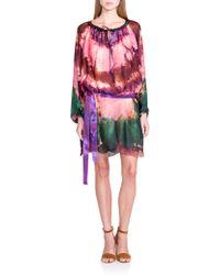 Emilio Pucci Silk Tie-Dye Tunic Dress multicolor - Lyst