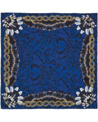 Versace Blue Leopard Print Feather Detail Silk Scarf - Lyst