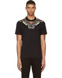Givenchy Black and Orange Moth Print T-Shirt - Lyst