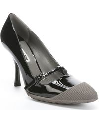 Miu Miu Black And Stone Patent Leather Rubber Cap Toe Mary-Jane Pumps - Lyst