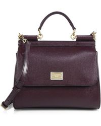 Dolce & Gabbana Sicily Textured Leather Top-Handle Satchel - Lyst