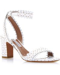 Tabitha Simmons Leticia Perforated-Leather Sandals In White - Lyst