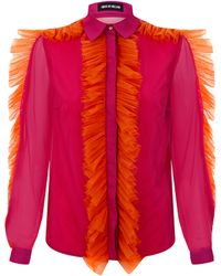 House Of Holland Tulle Blouse Pink - Lyst