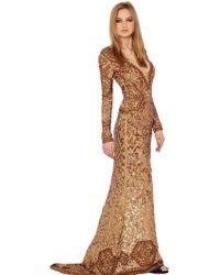 Emilio Pucci Beaded Silk Georgette Dress gold - Lyst