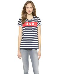 Textile Elizabeth And James Usa Wide Stripe Bowery Tee Whitebluered - Lyst