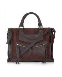 Topshop Smart Suede and Leather Holdall - Burgundy - Lyst