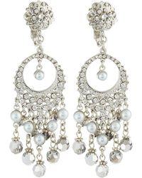 Jose & Maria Barrera | Pearly & Crystal Round Filigree Dangle Earrings | Lyst