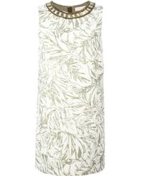 Matthew Williamson Floral Jacquard Embellished Collar Dress - Lyst