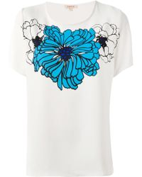 P.A.R.O.S.H. Flower Printed T-Shirt - Lyst