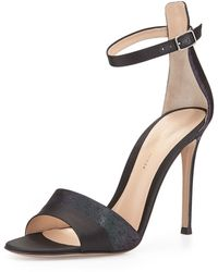 Gianvito Rossi Holo Graphic Satin Ankle Strap Sandal - Lyst