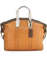 orYANY Cassie Colorblock Convertible Tote Bag beige - Lyst