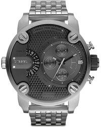 Diesel Black Chronograph Watch with Silver Bracelet - Lyst