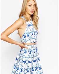Ginger Fizz - Remember Paris Crop Top In Mirror Print With Cross Back Detail - Lyst
