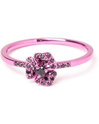 AS29 - Pave Diamond Flower Ring - Lyst