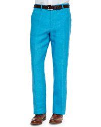 Zanella Solid Linen Dress Pants - Lyst