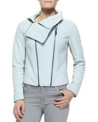 Elie Tahari Melanie Moto Leather Jacket - Lyst