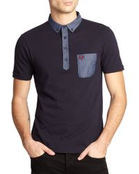 Fred Perry Mixed-Media Polo - Lyst