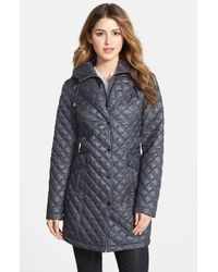 Laundry by Shelli Segal Quilted Coat with Removable Hood - Lyst