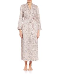 Oscar de la Renta | Paisley-print Brushed Back Satin Robe | Lyst