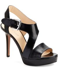 Nine West Saynomore Leather Platform Sandals - Lyst