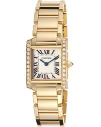 Cartier Womens Diamond Tank Francaise 18k Gold Plated Beige Dial - Lyst