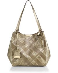 Burberry Canterbury Small Metallic Plaid-embossed Pebbled-leather Tote - Lyst