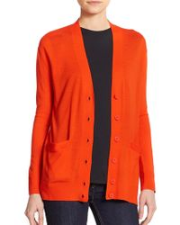 Marc By Marc Jacobs Wool Colorblock Cardigan orange - Lyst