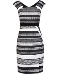 Karen Millen Black And White Tweed Pencil Dress - Lyst